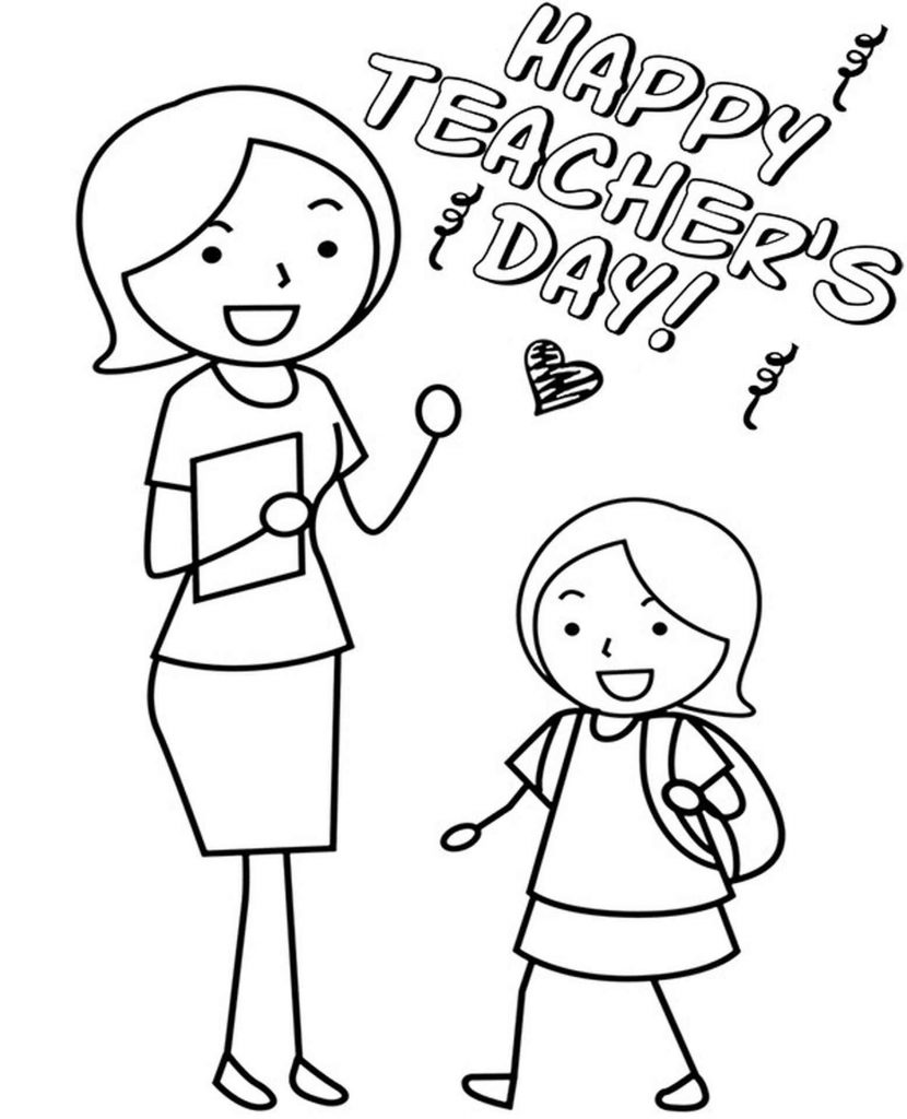 Teacher's Day Card Coloring Page
