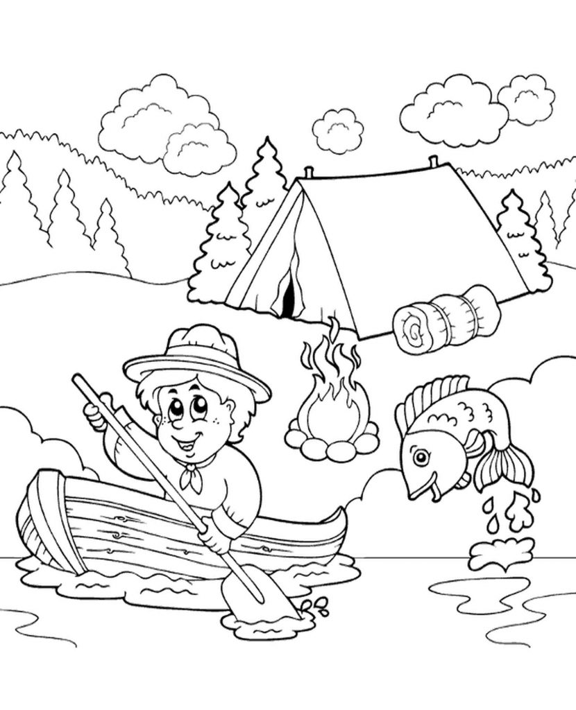 Tent By The River Coloring Page
