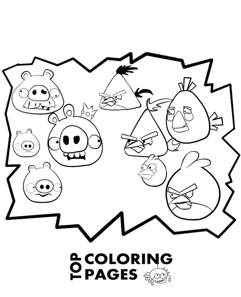 The Confrontation Between The Angry Birds And Pigs Afraid Coloring Sheets
