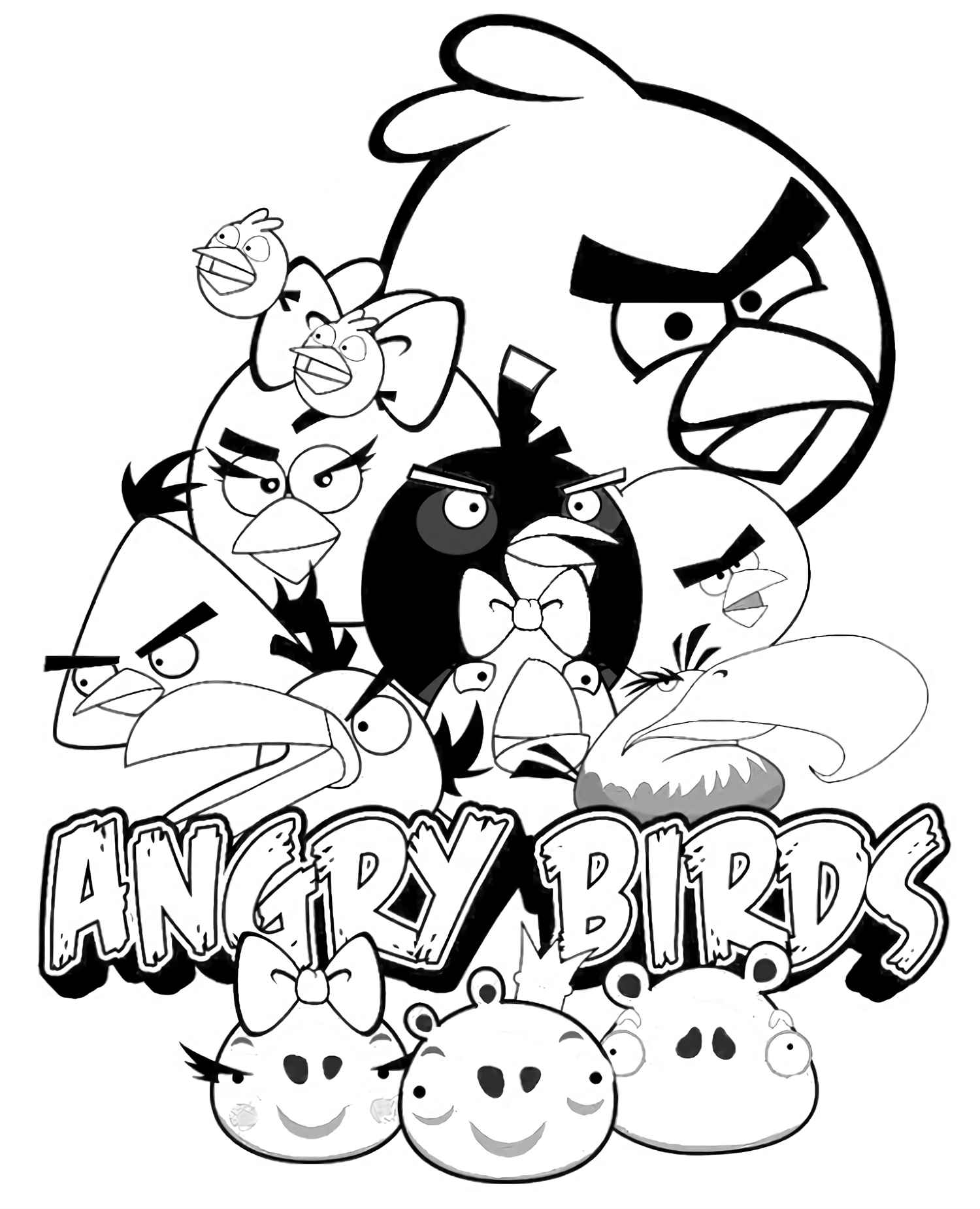 The Crew Of The Angry Birds Coloring Pages
