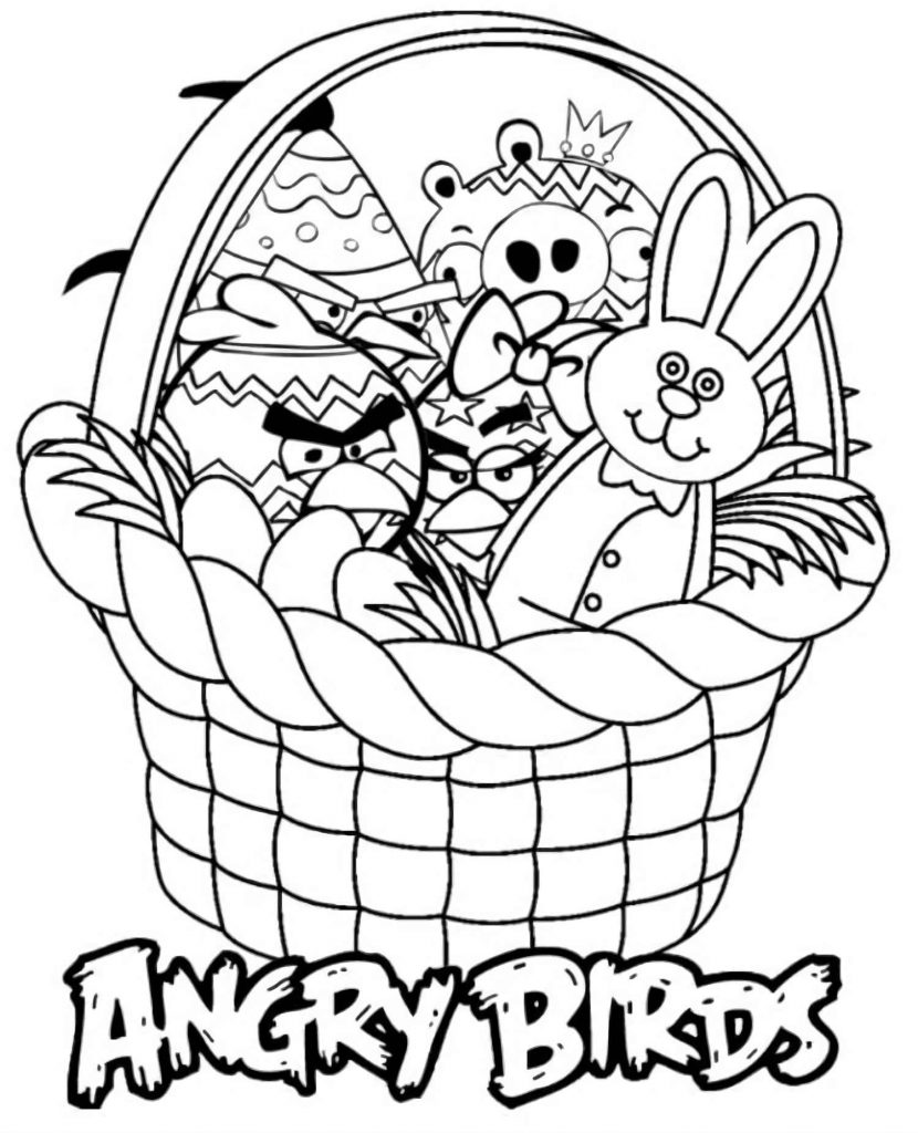 The Heroes Of The Game Angry Birds, Who Became Easter, Lie In A Basket With An Easter Bunny Coloring Pages