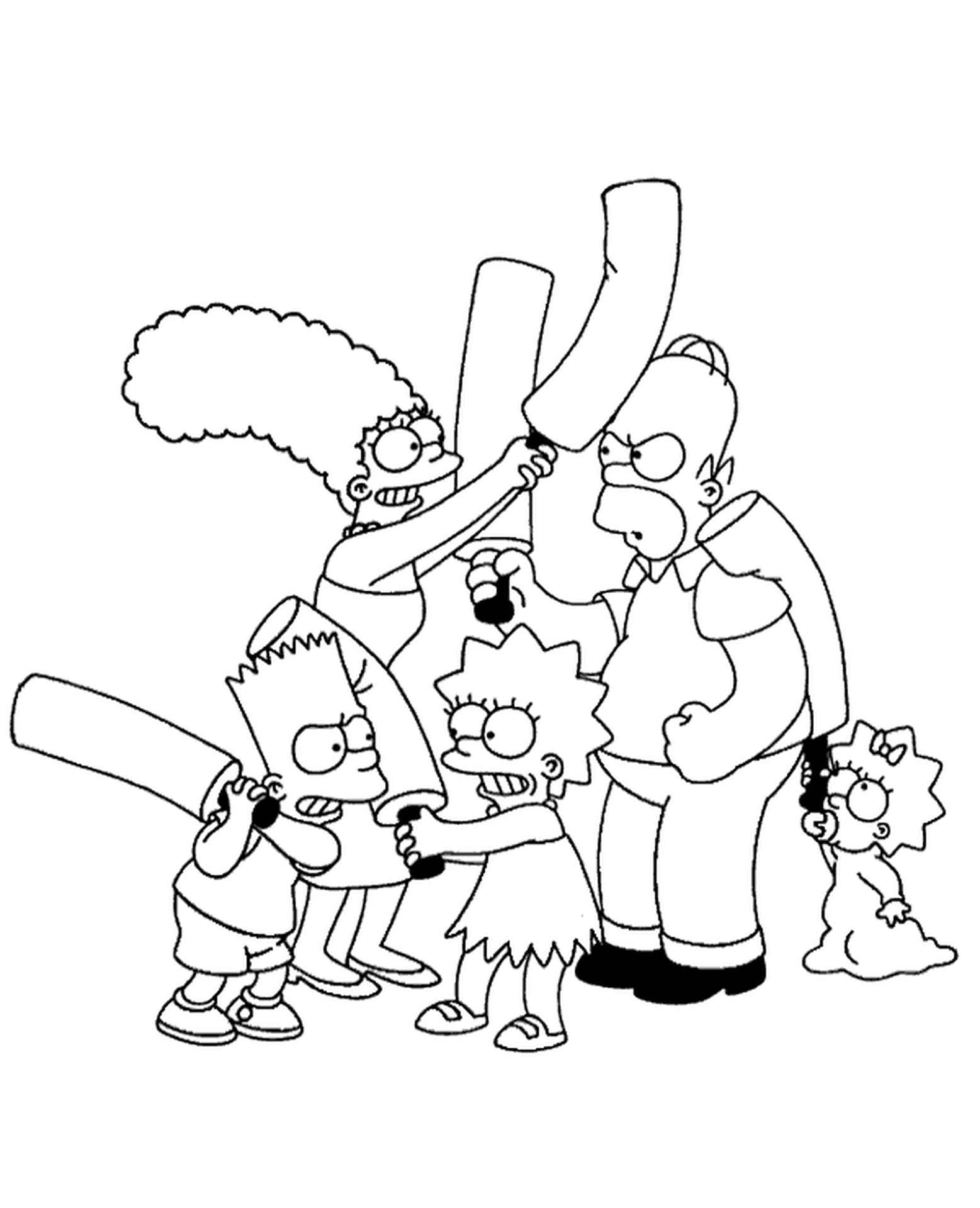 The Simpson Family Beat Each Other With Truncheons Coloring Page