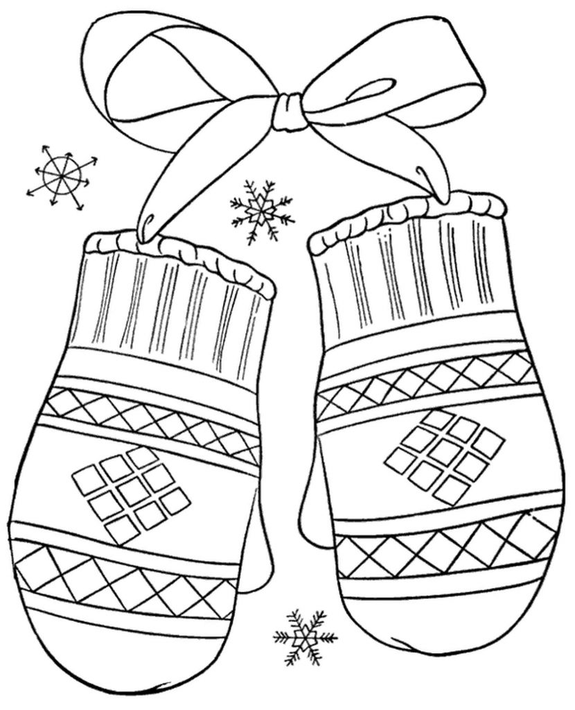 Thick Gloves Coloring Sheet