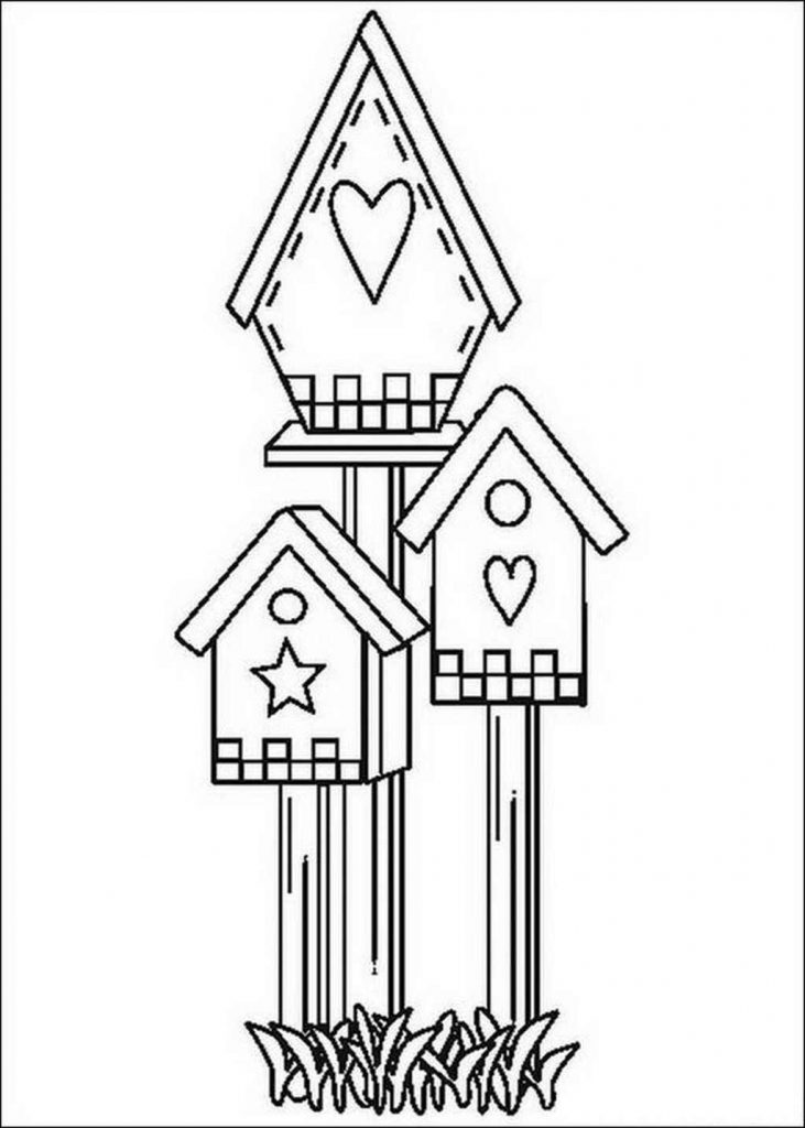 Three Bird Houses To Color
