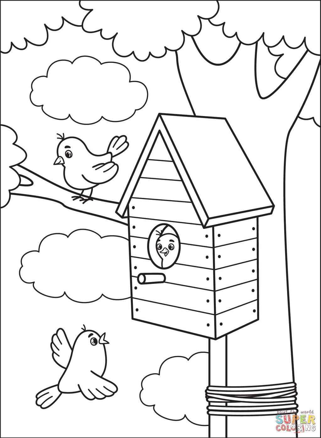 Three Birds And A Bird House Coloring Page