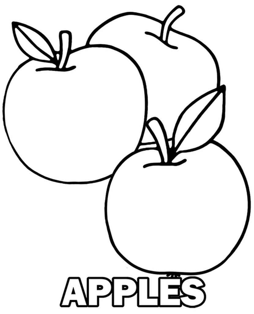 Three Plain And Simple Apples To Color