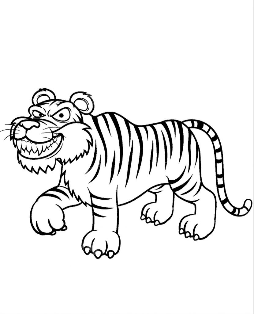 Tiger Showing His Teeth Coloring Page