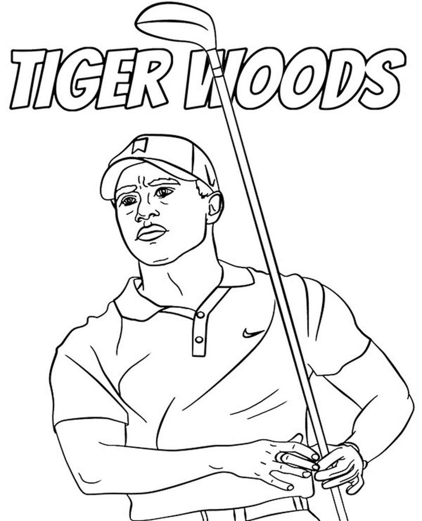 Tiger Woods Golfer Coloring Pages