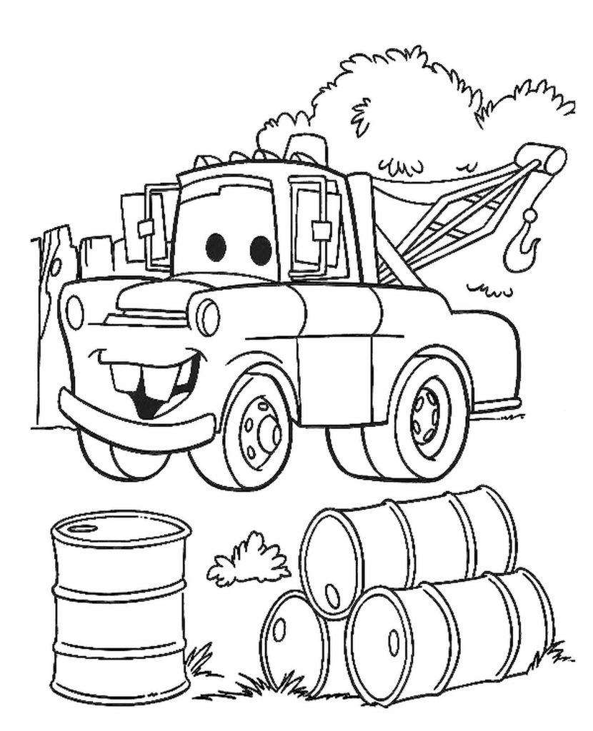Tow Mater And Barrels Of Oil For Cars From Cars Coloring Page