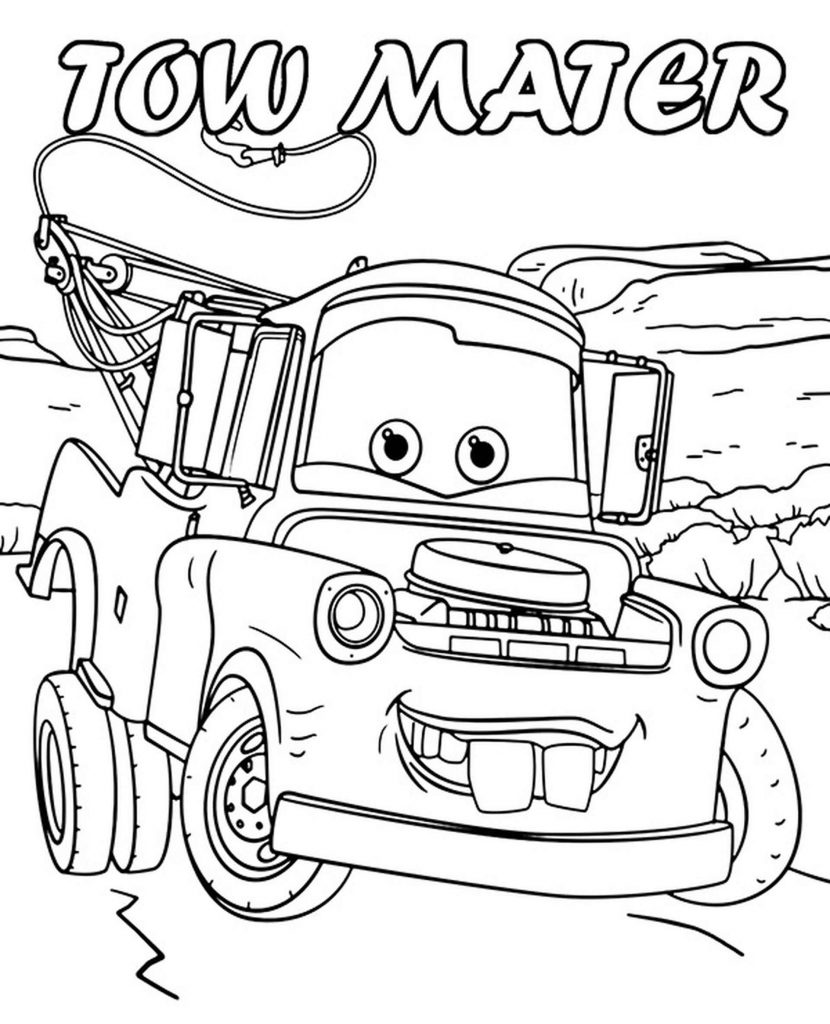Tow Mater With Name From Cars Coloring Page