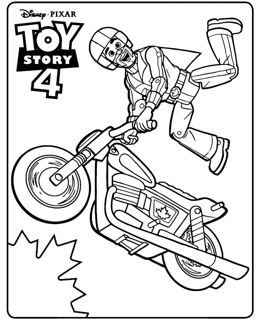 Toy Motorcyclist From The Cartoon Disney Toy Story 4 Flies Coloring Page