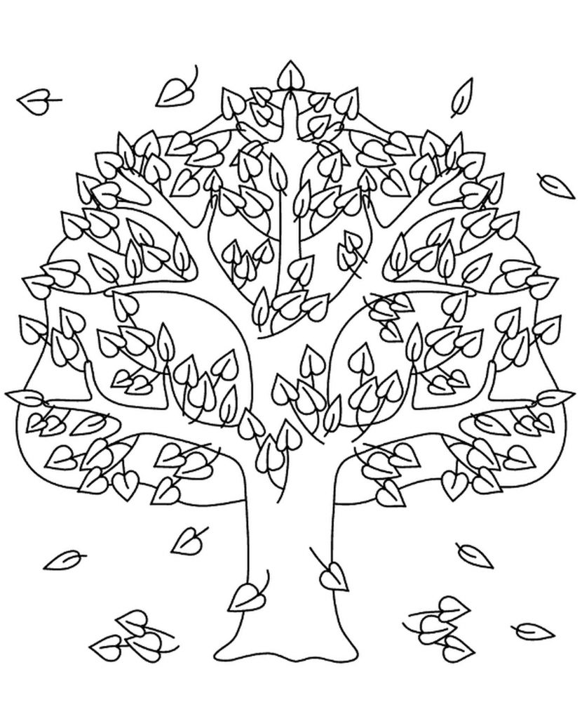 Tree In The Autumn Coloring Page