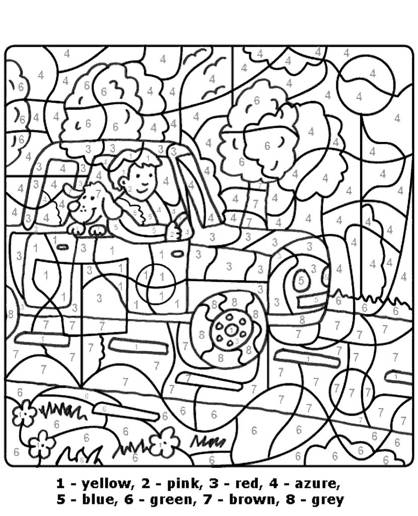 Trip With A Dog Color By Number Coloring Page