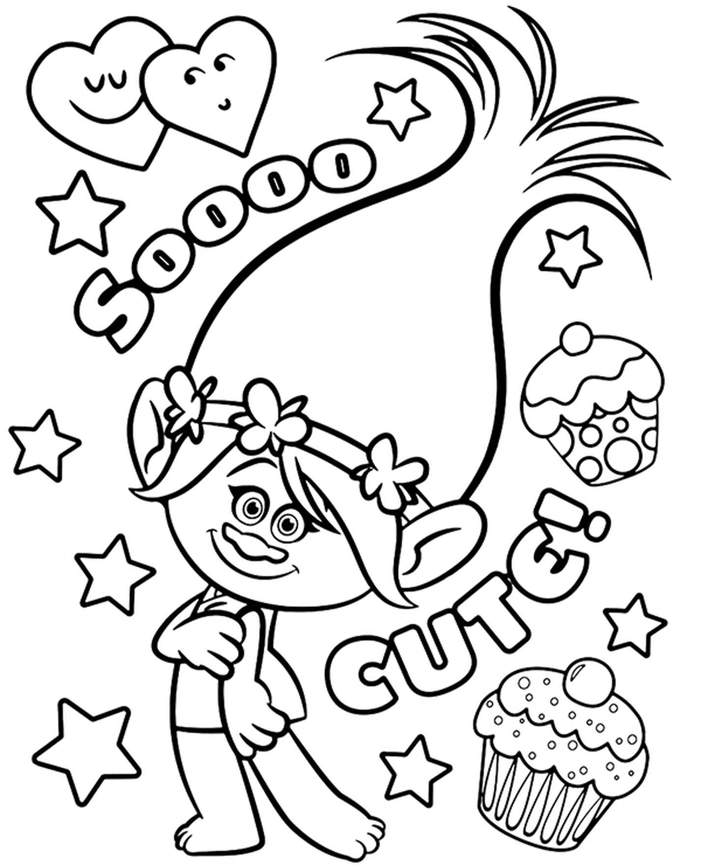 Trolls Coloring Page Poppy