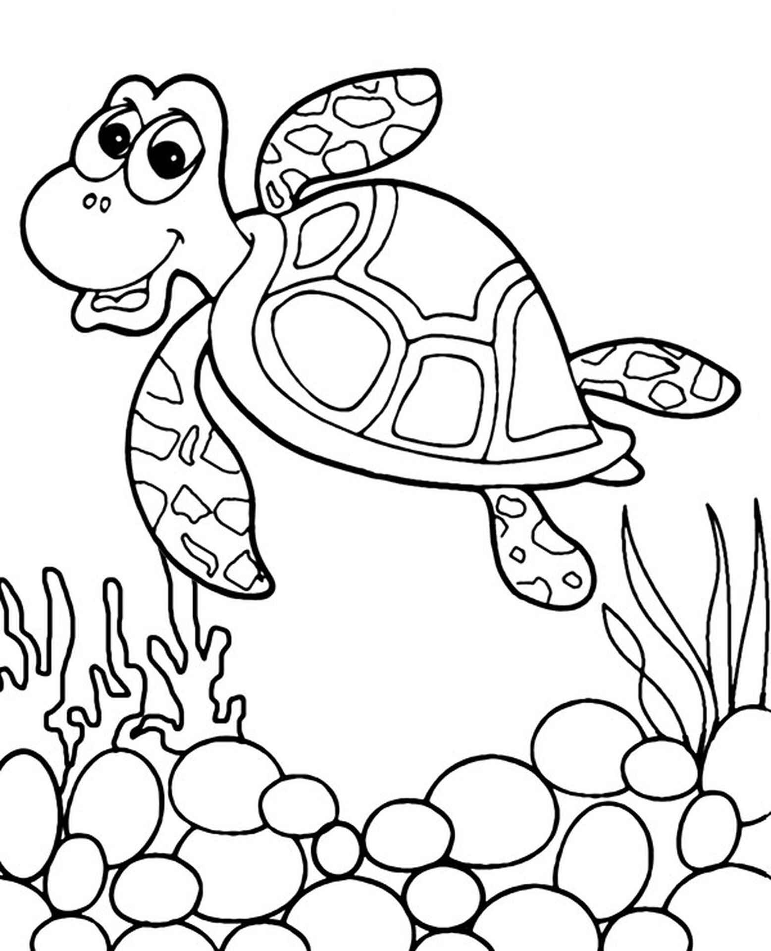 Turtle Ocean Coloring Picture