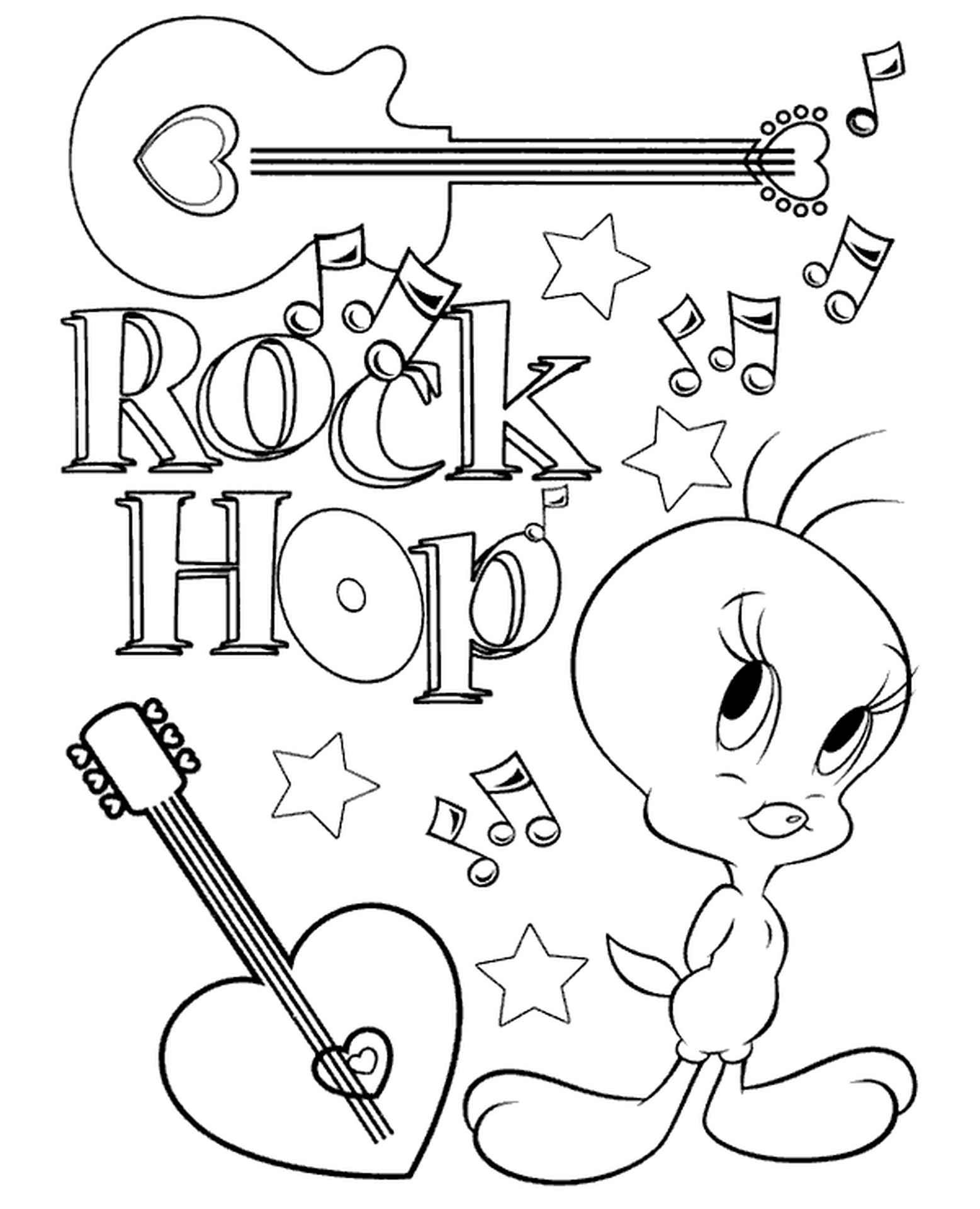 Tweety Loves Music Coloring Page
