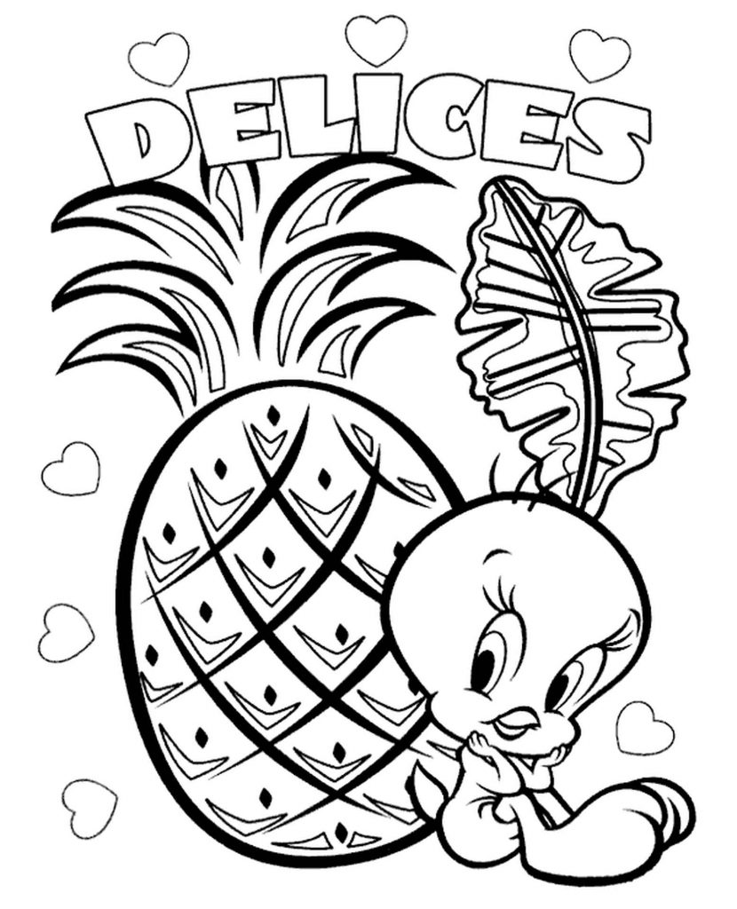 Tweety With Pineapple Coloring Page