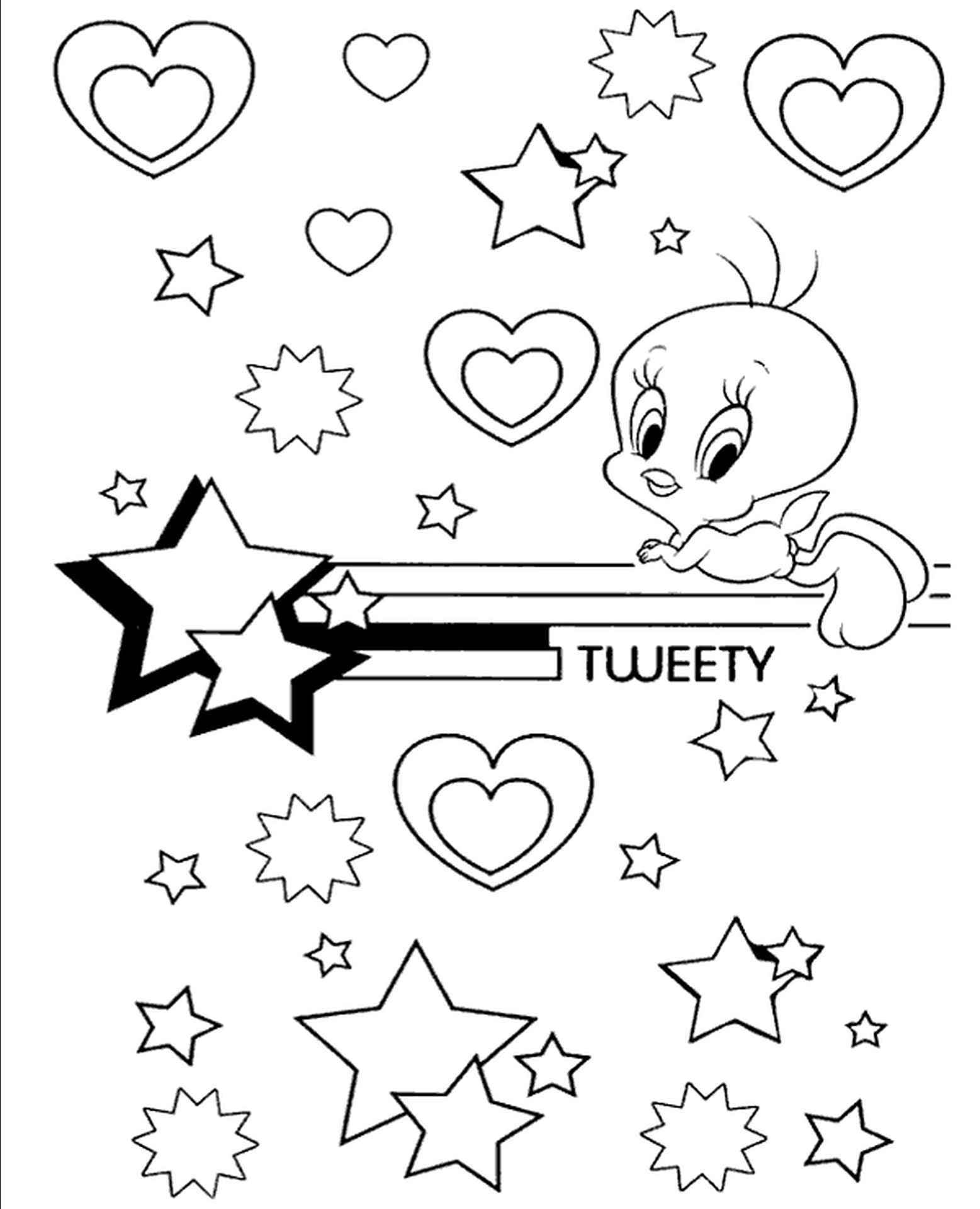 Tweety With Stars And Hearts Coloring Page
