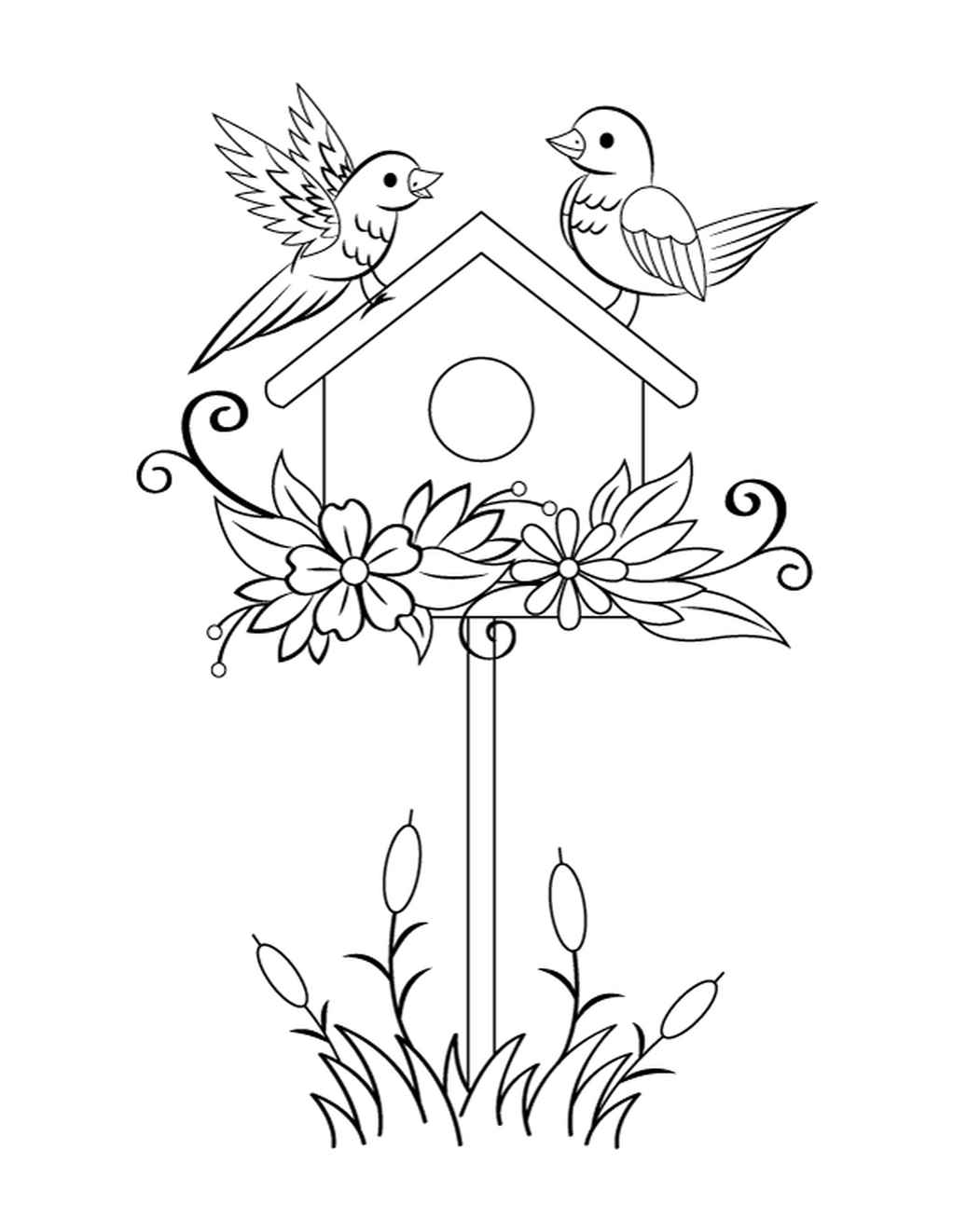 Two Birds And A Birdhouse Coloring Page