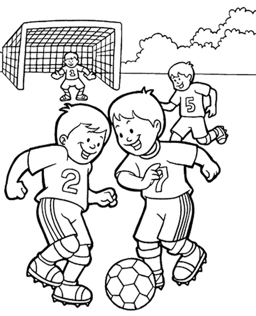 Two Boys Playing A Soccer Coloring Page