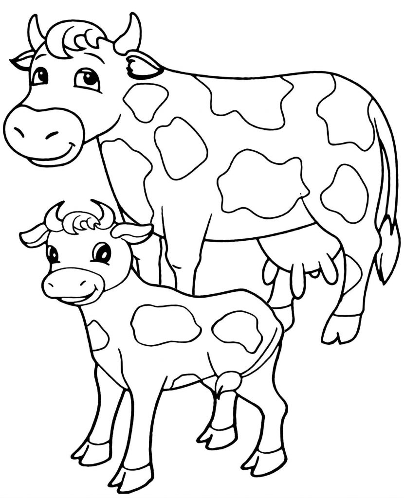 Two Cows Simple Coloring Page