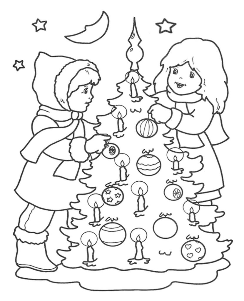 Two Girls Decorating Christmas Tree