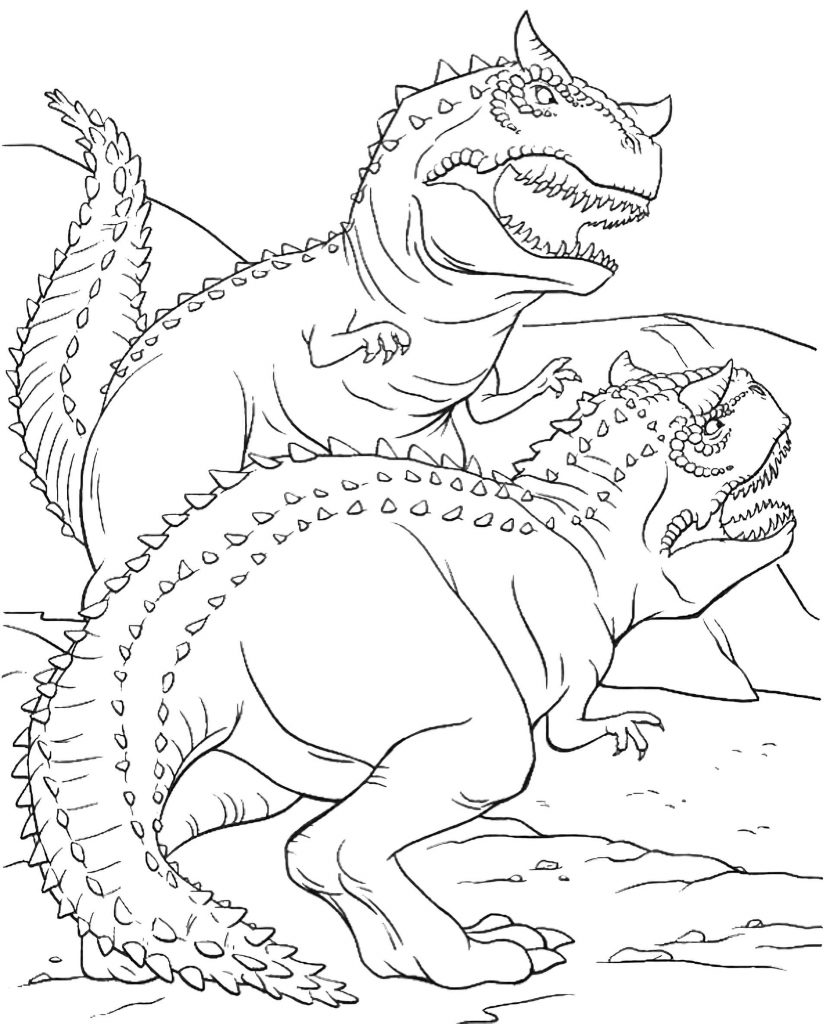 Two Hostile Dinosaurs Coloring Book