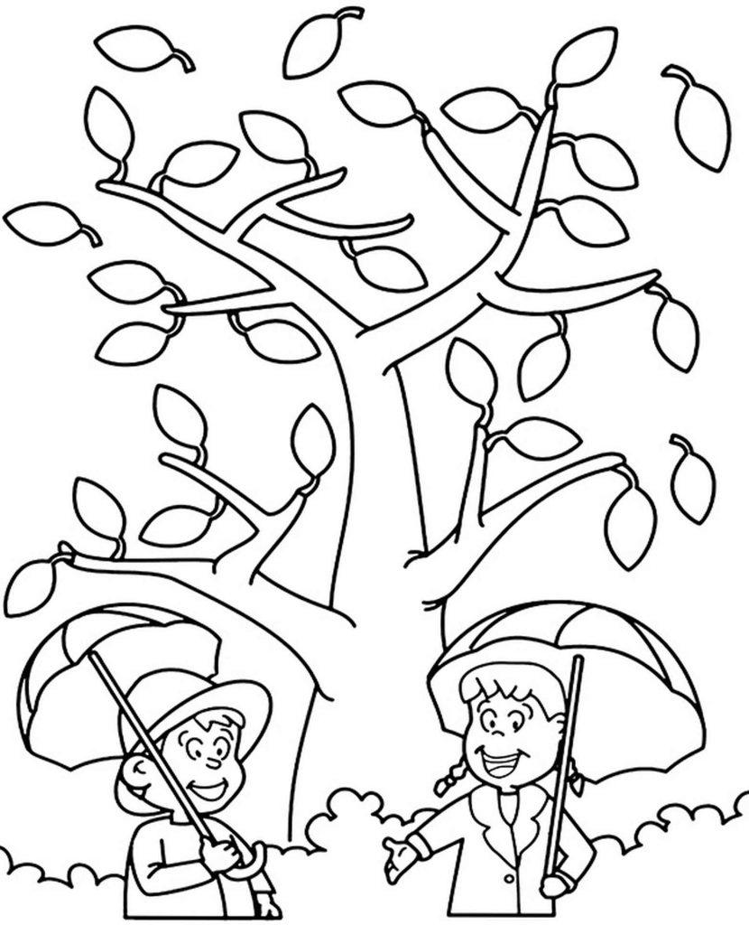 Two Kids Under Umbrellas Coloring Page