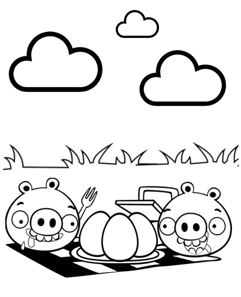 Two Pigs From Angry Birds Preparing To Eat Eggs In Nature Coloring Image