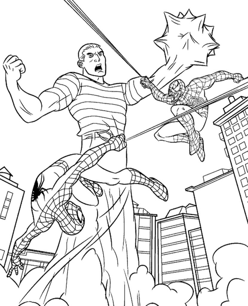 Two Spider-Man Attacking Sandman Coloring Page