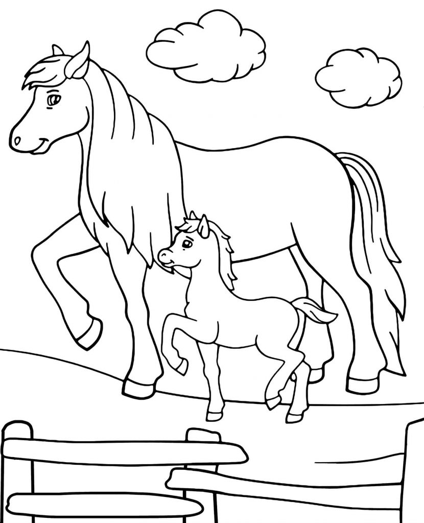 Two Strolling Horses Coloring Page For Kids