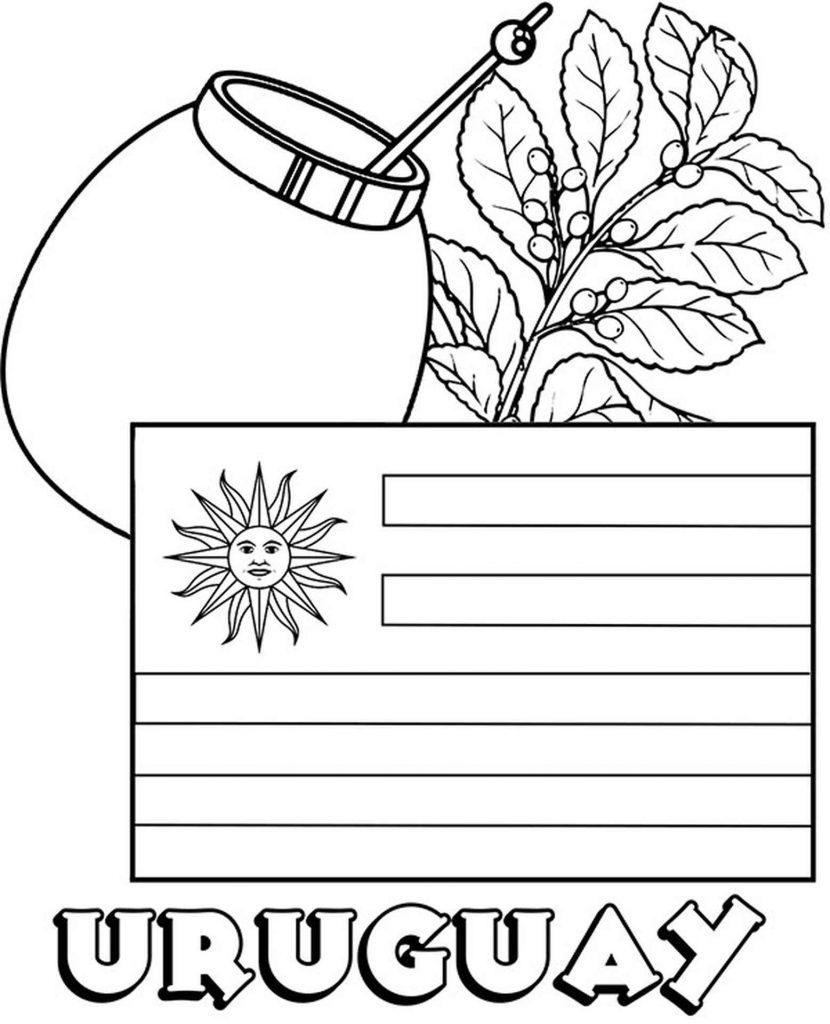 Uruguay Flag And Traditional Cocktail Coloring Page