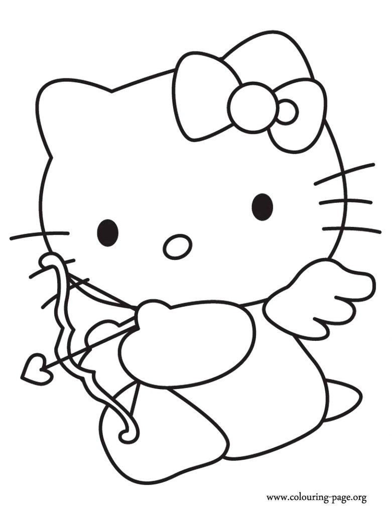 Valentine S Day Hello Kitty As A Cupid Coloring Page