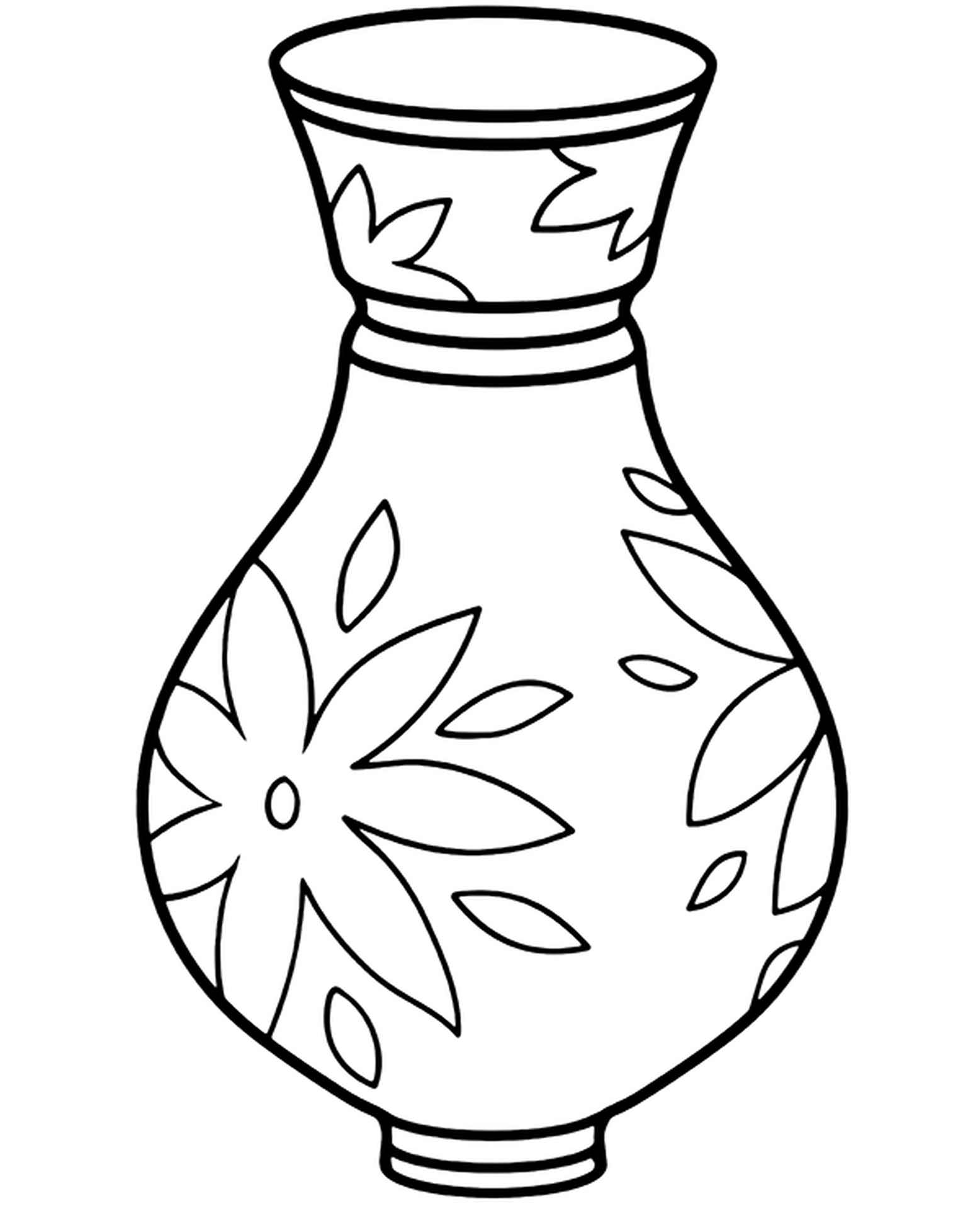Vase With Patterns For Flowers Coloring Image
