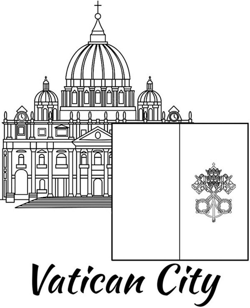 Vatican Flag And St. Peter's Basilica Coloring Page