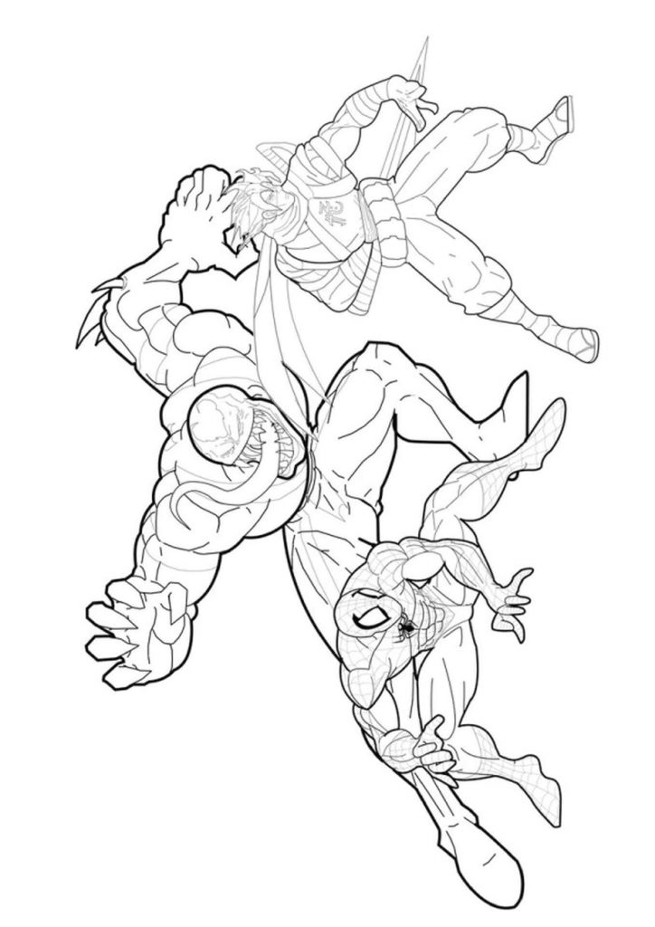 Venom And Spiderman Coloring Page