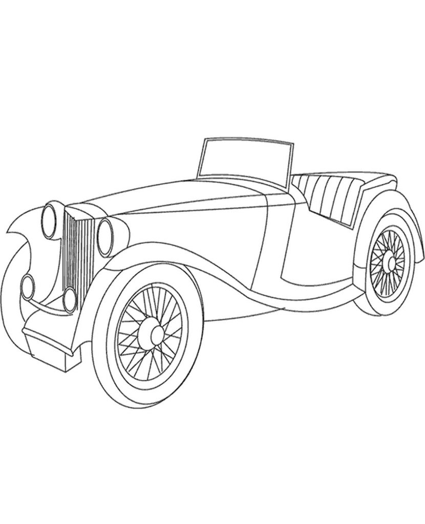 Very Old Car Coloring Page
