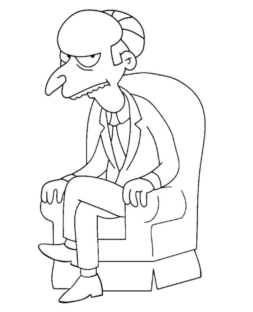 Vile Montgomery Burns Fron Simpsons Coloring Page