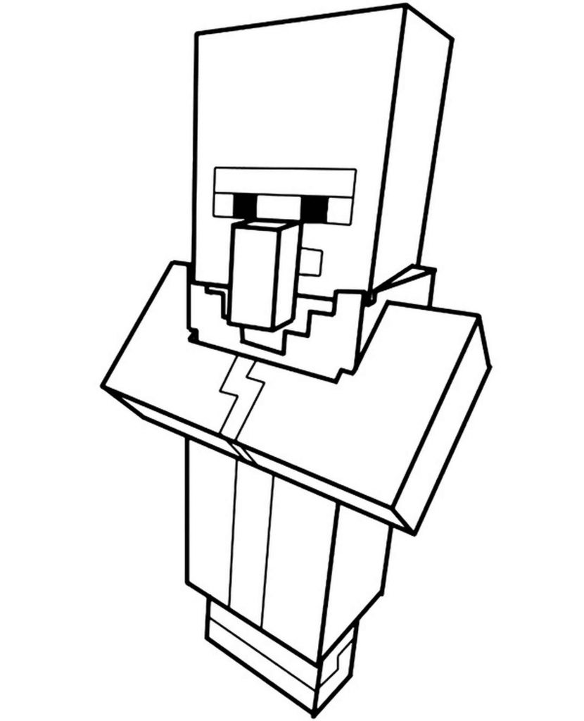 Villager In Minecraft Coloring Page