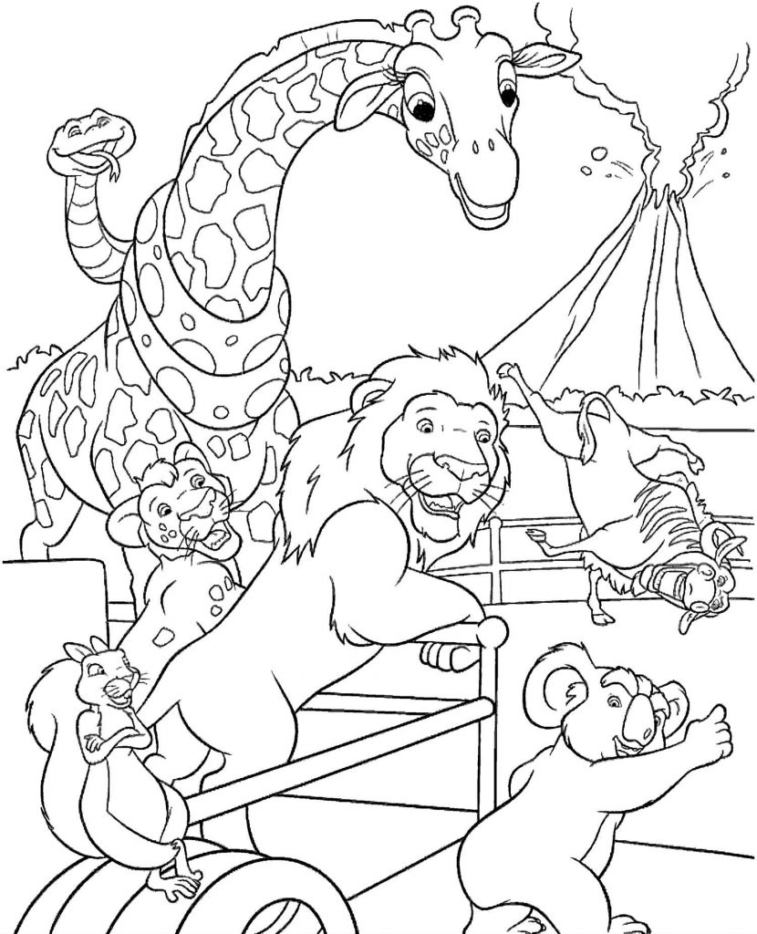 Volcano And African Animals Coloring Page