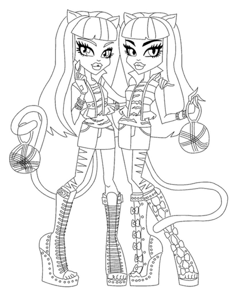 Werecat Twins From Monster High With Wool Balls Coloring Image