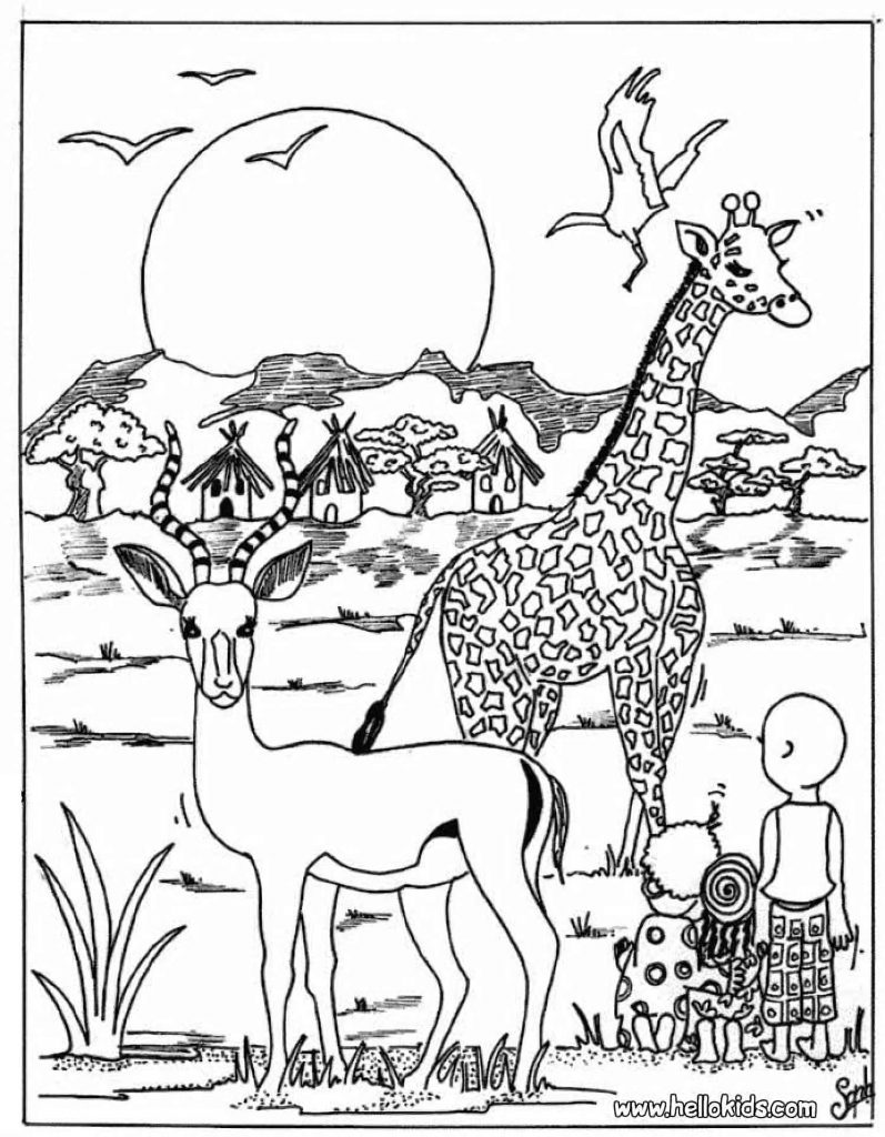 Wild Animals With Human Kids Coloring Page