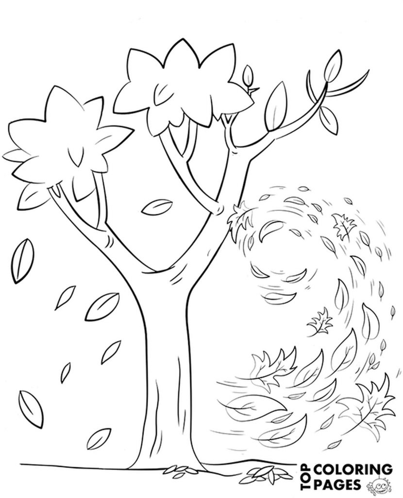 Wind Shaking A Tree Coloring Sheet