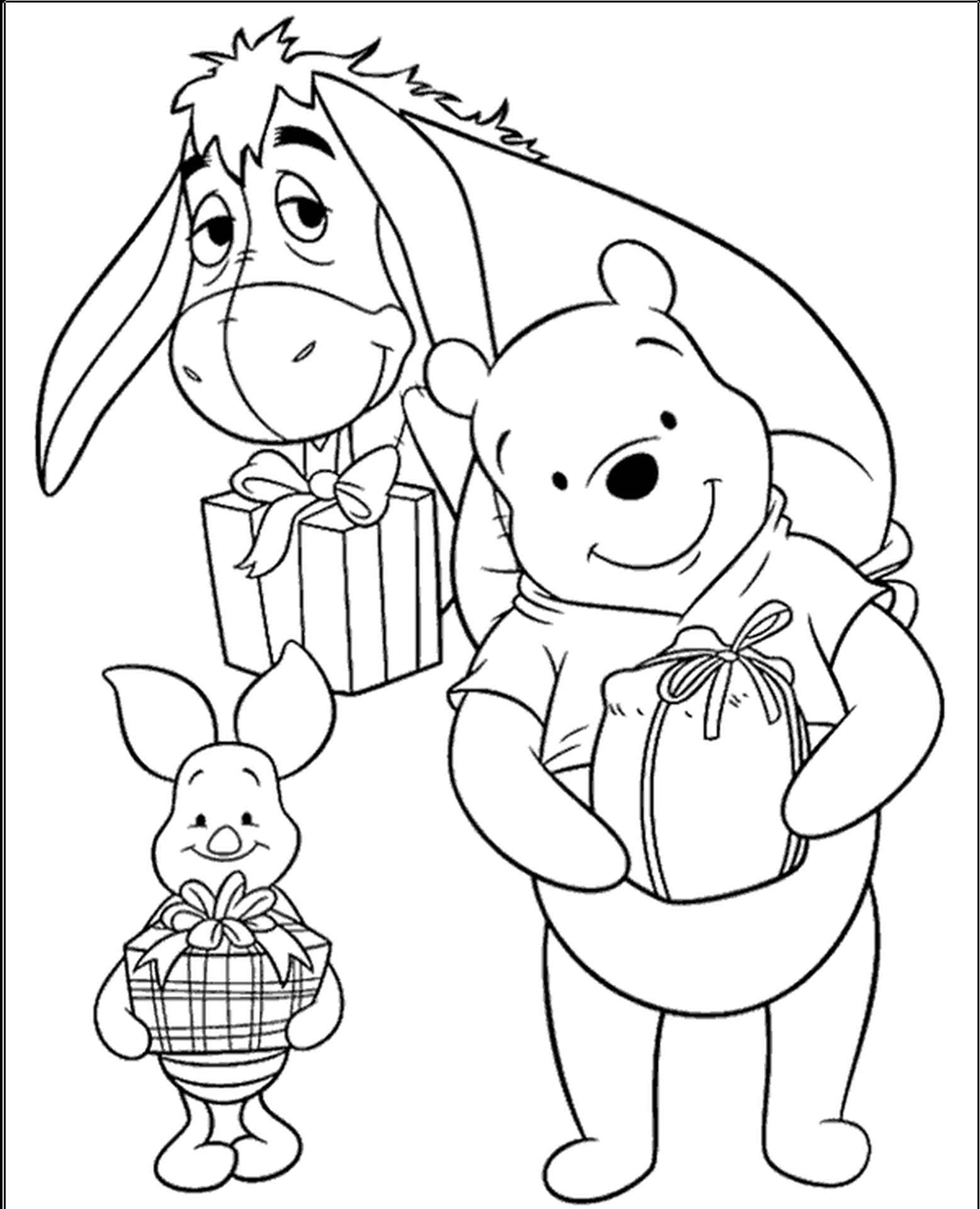 Winnie, Piglet And Eeyore Coloring Pages