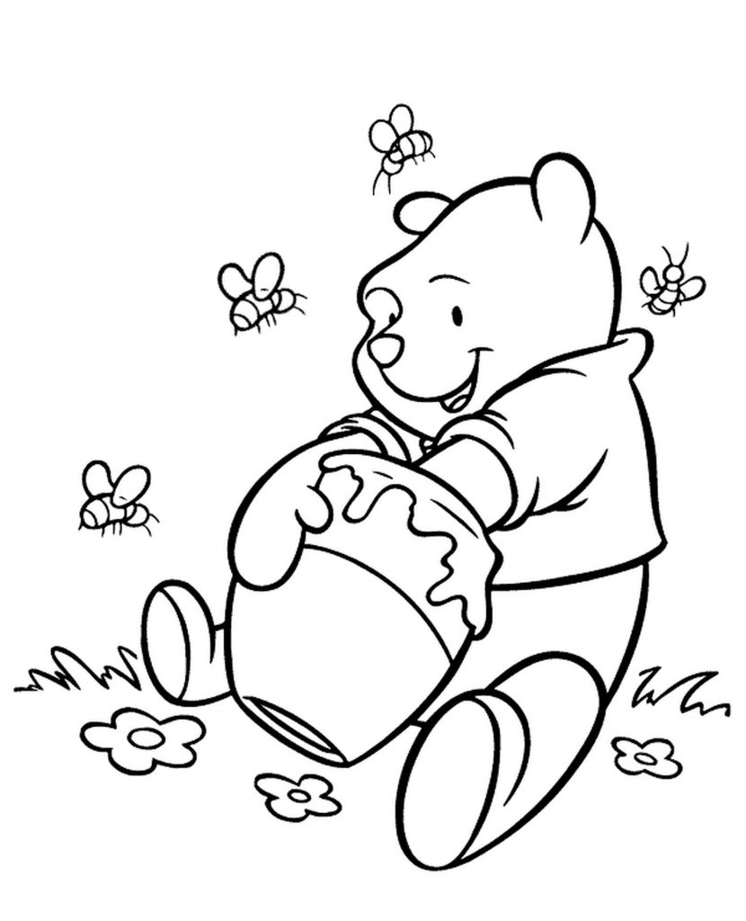 Winnie The Pooh Eats Honey Coloring Pages