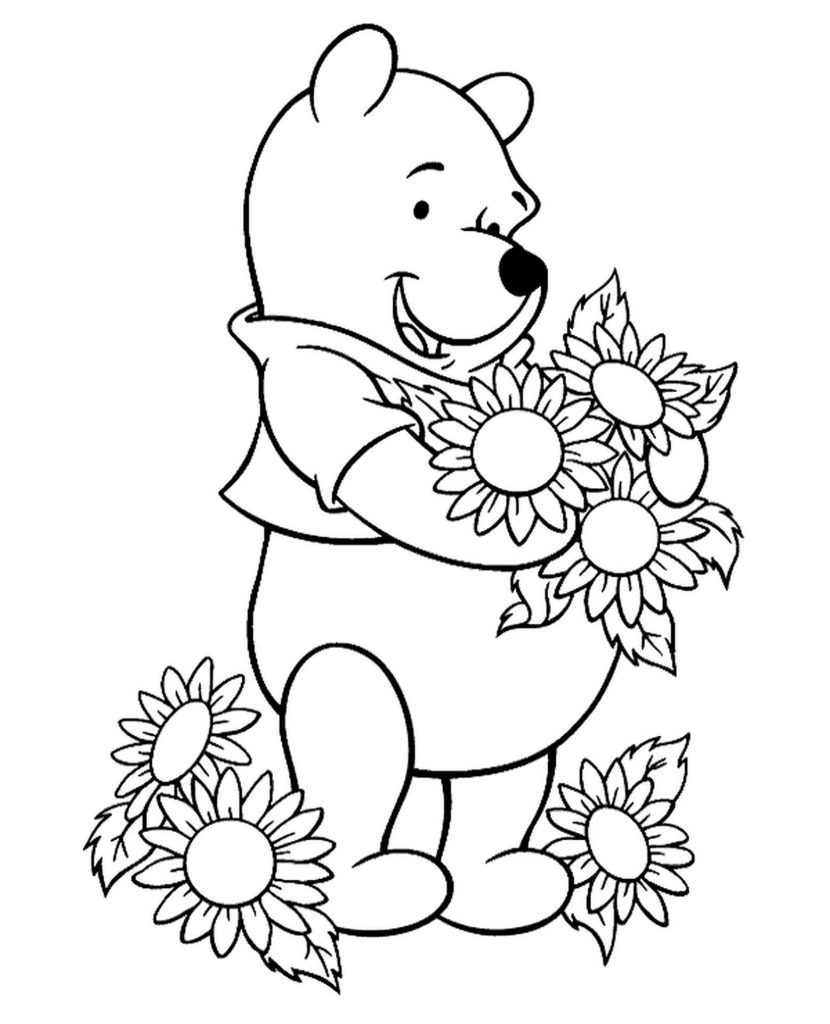 Winnie The Pooh With Flowers