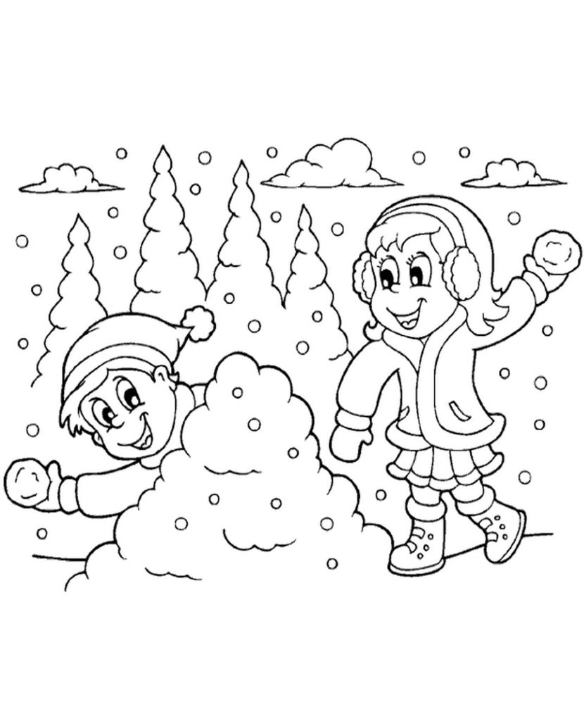 Winter Children Snowballs Coloring Page