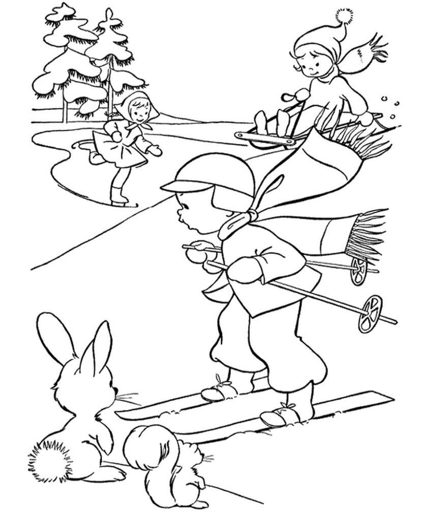 Winter Coloring Page Skier, Skater And Sledges