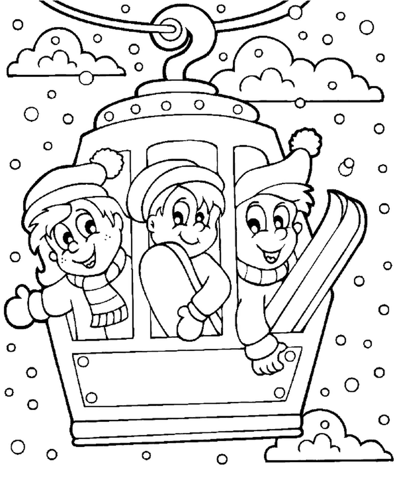 Winter Coloring Page Snow Lift