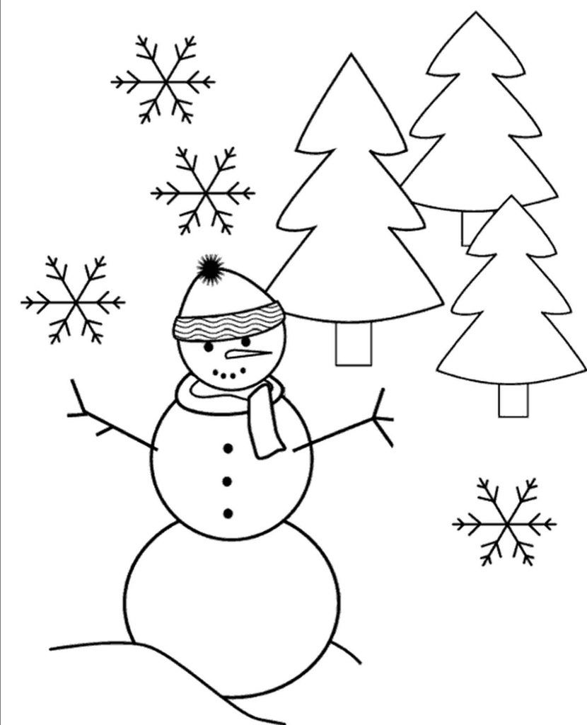 Winter Easy Coloring Page For Children